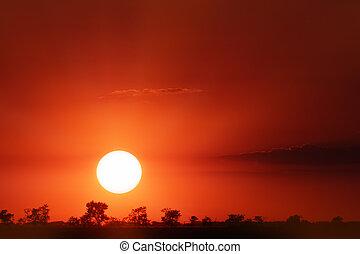 pôr do sol, bonito