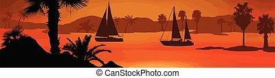 pôr do sol, bonito, silueta, barcos velejando, mar