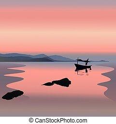 pôr do sol, bote