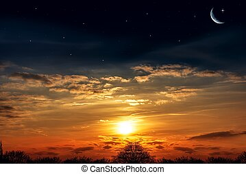 pôr do sol, céu