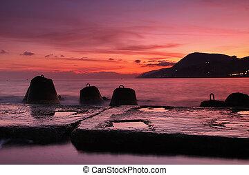pôr do sol, cais, mar