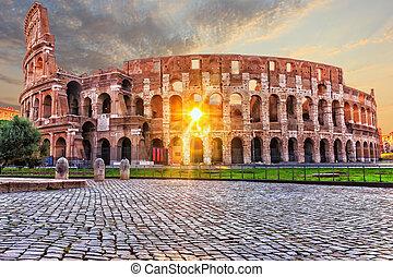 pôr do sol, coliseum, pessoas, roma, não