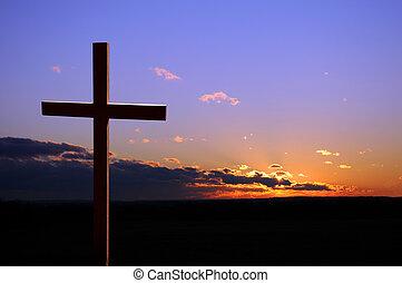 pôr do sol, com, crucifixos
