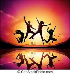 pôr do sol, com, pessoas pulando
