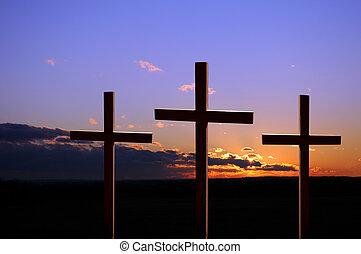 pôr do sol, com, thee, cruzes