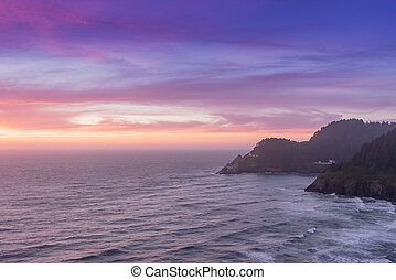 pôr do sol, cores, sobre, costa pacífica