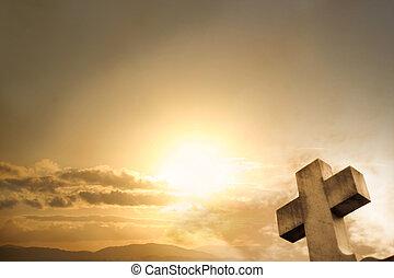 pôr do sol, crucifixos, fundo