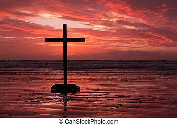 pôr do sol, crucifixos, vermelho