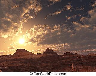 pôr do sol, deserto, amanhecer, ou
