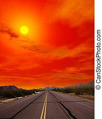 pôr do sol, deserto, estrada, sonora