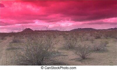 pôr do sol, deserto, tempestade