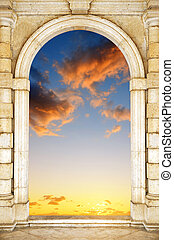 pôr do sol, dramático, antigas, portão, sky.