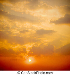 pôr do sol, dramático, nuvens, amanhecer