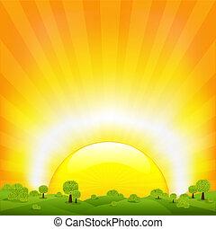 pôr do sol, e, paisagem