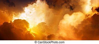 pôr do sol, em, céu