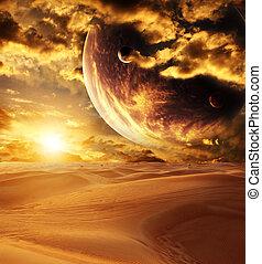 pôr do sol, em, deserto