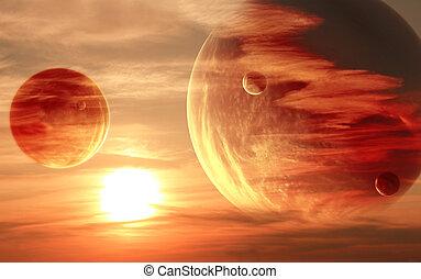 pôr do sol, em, estrangeiro, planeta