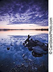 pôr do sol, em, lago
