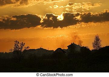 pôr do sol, em, suburbia