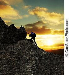 pôr do sol, escalador