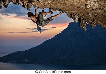 pôr do sol, escalador, rocha