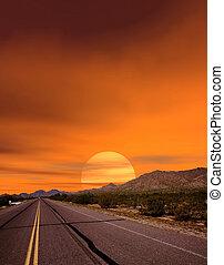 pôr do sol, estrada