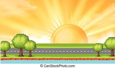 pôr do sol, estrada, fundo, desenho, ao longo, paisagem rio