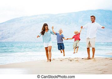 pôr do sol, família, feliz