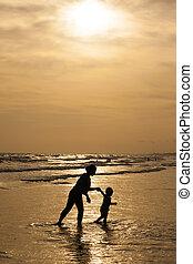 pôr do sol, filha, mãe