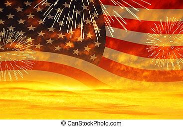 pôr do sol, fireworks., céu, bandeira, eua