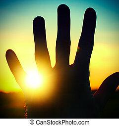 pôr do sol, fundo, mão
