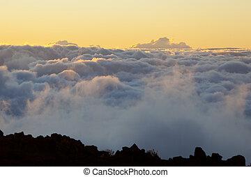 pôr do sol, havaí, maui, haleakala