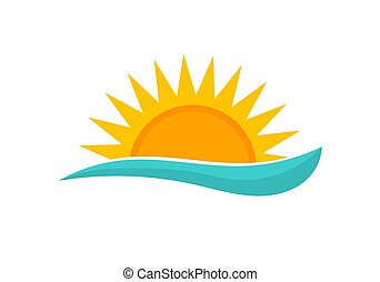 pôr do sol, icon., sol, mar, verão, onda