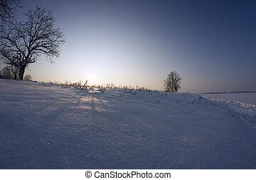 pôr do sol, inverno