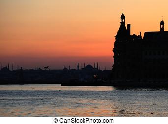 pôr do sol, istambul