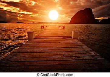 pôr do sol, jetty