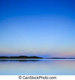 pôr do sol, lago
