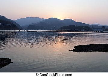 pôr do sol, lago, paisagem