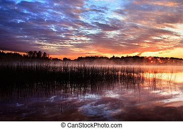 pôr do sol, lago reflexão