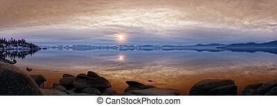 pôr do sol, lago tahoe