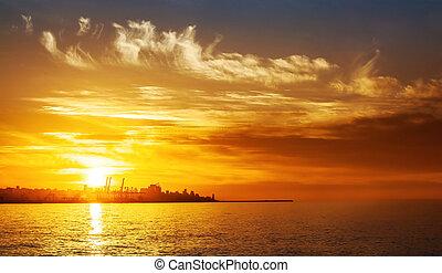 pôr do sol, ligado, a, mar