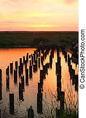 pôr do sol, ligado, a, rio, -, paisagem, série