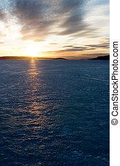 pôr do sol, ligado, lago congelado
