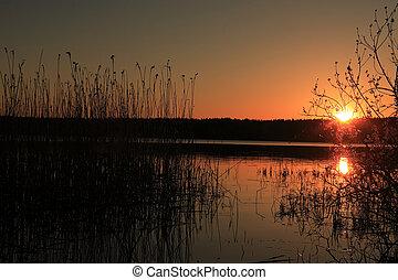 pôr do sol, ligado, lago