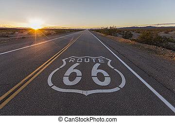 pôr do sol, ligado, rota 66