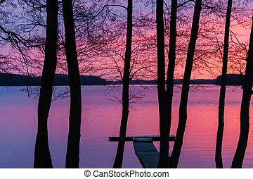 pôr do sol, ligado, um, lago, paisagem, com, árvores