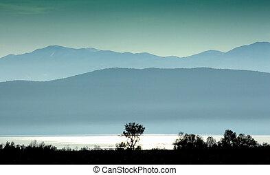 pôr do sol, ligado, um, lago, prespa, em, macedonia