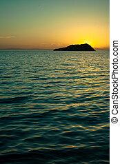 pôr do sol, mar, cortez