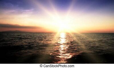 pôr do sol, mar