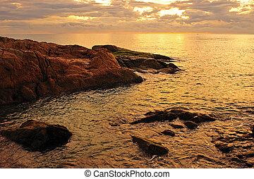 pôr do sol, mar, fundo